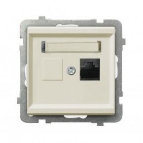 Gniazdo komputerowe pojedyncze RJ45 kat. 5e MMC GPK-1R/K/M/27 ECRU SONATA Ospel