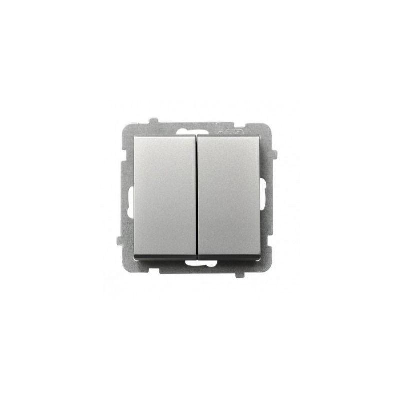 Włącznik dwugrupowy świecznikowy ŁP-2R/M/38 srebrny SONATA Ospel