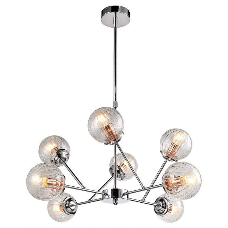 Lampy-sufitowe - szklana lampa wisząca na 8 źródeł światła 40w e14 chrom+miedź best 38-67289 candellux firmy Candellux