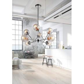 Lampy-sufitowe - szklana lampa wisząca na 8 źródeł światła 40w e14 chrom+miedź best 38-67289 candellux