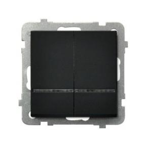 Czarny włącznik dwugrupowy świecznikowy z podświetleniem pomarańczowym ŁP-2RS/M/33 SONATA Ospel