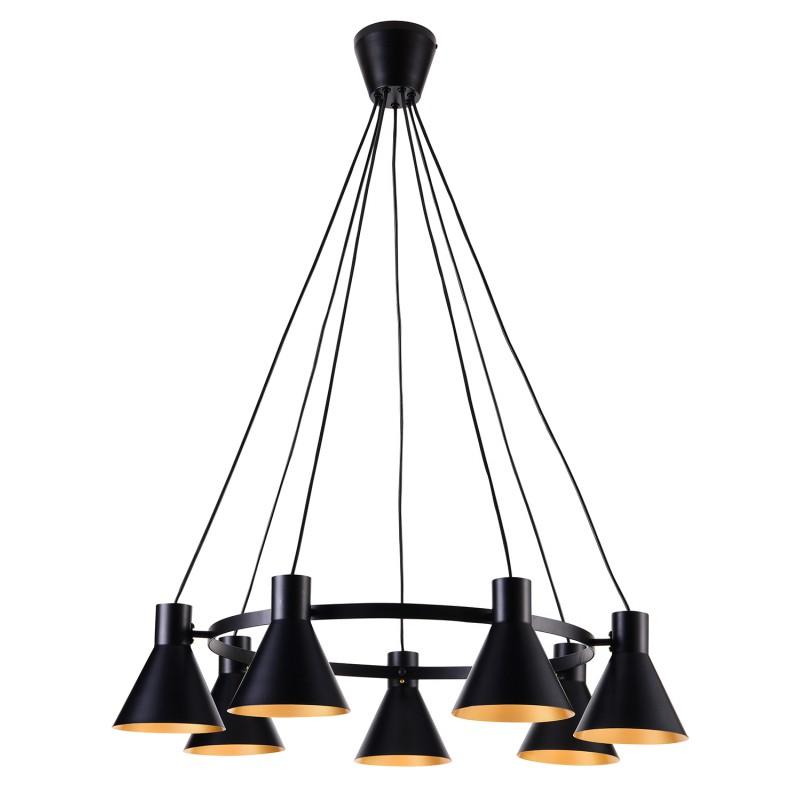Lampy-sufitowe - wisząca lampa sufitowa w kolorze czarnym matowym e27 7x40w more 37-71170 candellux firmy Candellux