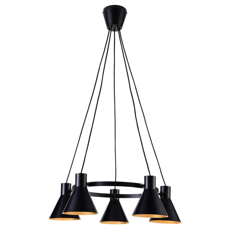 Lampy-sufitowe - lampa wisząca sufitowa czarna matowa 5xe27 40w more 35-71163 candellux firmy Candellux