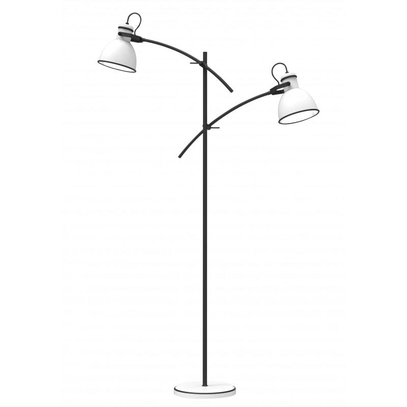Lampy-stojace - lampa podłogowa podwójna o mocy 40w e14 biało-czarna zumba 52-72672 candellux firmy Candellux