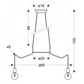 Lampy-sufitowe - lampa wisząca z ośmioma ramionami 8x40w e27 basso 38-71040 candellux