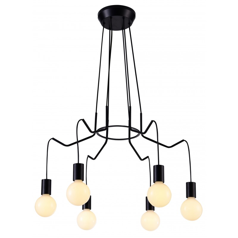 Lampy-sufitowe - sześciopunktowa lampa sufitowa czarny mat 6x40w e27 basso 36-71033 candellux firmy Candellux
