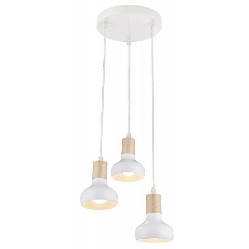 Lampy-sufitowe - szykowna lampa wisząca biała 3x40w e14 puerto 33-62635 candellux firmy Candellux