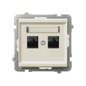 Gniazdo komputerowe podwójne RJ45 kat 5e MMC GPK-2R/K/M/27 ECRU SONATA Ospel