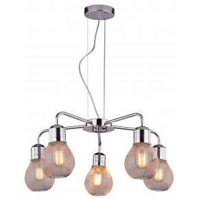 Lampy-sufitowe - lampa wisząca chromowa z pięcioma drucianymi kloszami 5x60w e27 gliva 35-58669 candellux