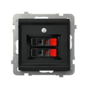 Czarne gniazdo głośnikowe podwójne GG-2R/M/33 SONATA Ospel