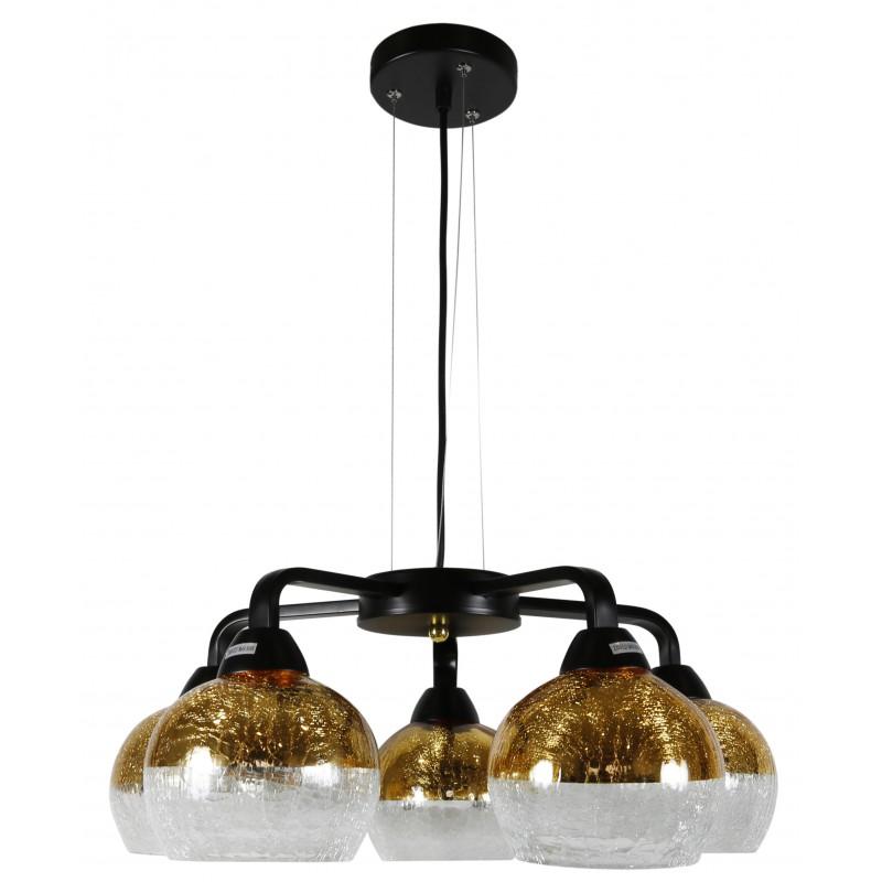 Lampy-sufitowe - oświetlenie sufitowe szklane klosze złoto-czarne 5x60w e27 cromina 35-57266 candellux firmy Candellux