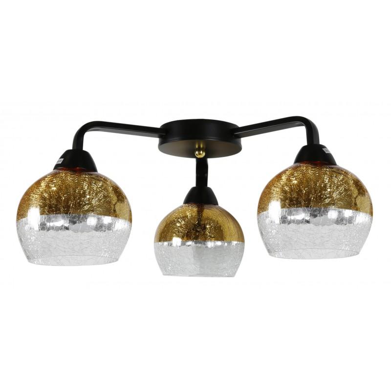 Lampy-sufitowe - lampa sufitowa gold z efektem bitego szkła 3x60w e27 cromina 98-57273 candellux firmy Candellux
