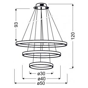 Lampy-sufitowe - lampa wisząca potrójny led w nowoczesnym stylu 60w led 4000k lune 33-64738 candellux