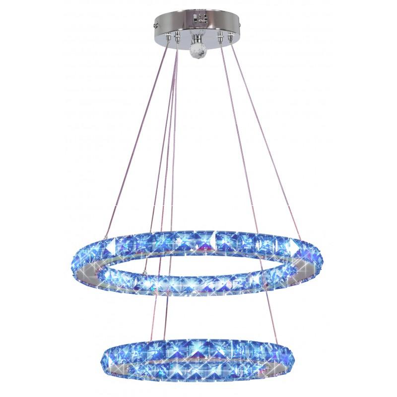 Lampy-sufitowe - lampa wisząca sufitowa led chromowana pilot+sterownik rgb 27w lords 32-63106 candellux firmy Candellux