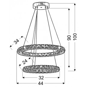 Lampy-sufitowe - lampa wisząca sufitowa led chromowana pilot+sterownik rgb 27w lords 32-63106 candellux