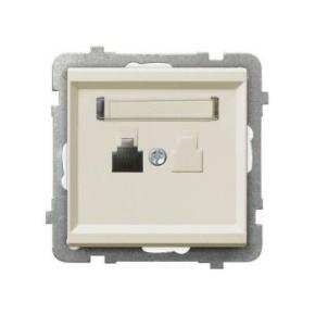 Gniazdo telefoniczne pojedyncze RJ12 GPT-1R/M/27 ECRU SONATA Ospel