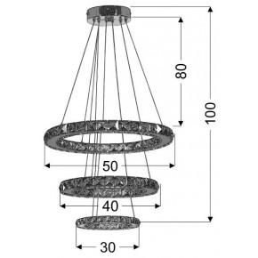 Lampy-sufitowe - lampa wisząca potrójna led rgb z pilotem chrom 48w lords 33-63090 candellux