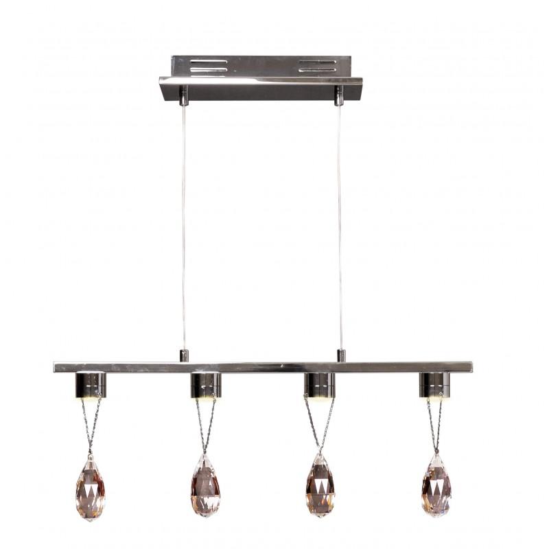 Lampy-sufitowe - lampa wisząca led chromowana z wiszącymi kryształkami 4x3w prisma 34-25708 candellux firmy Candellux