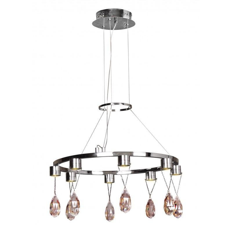 Lampy-sufitowe - lampa wisząca led zdobiona kryształkami chromowa 8x3w prisma 38-26064 candellux firmy Candellux