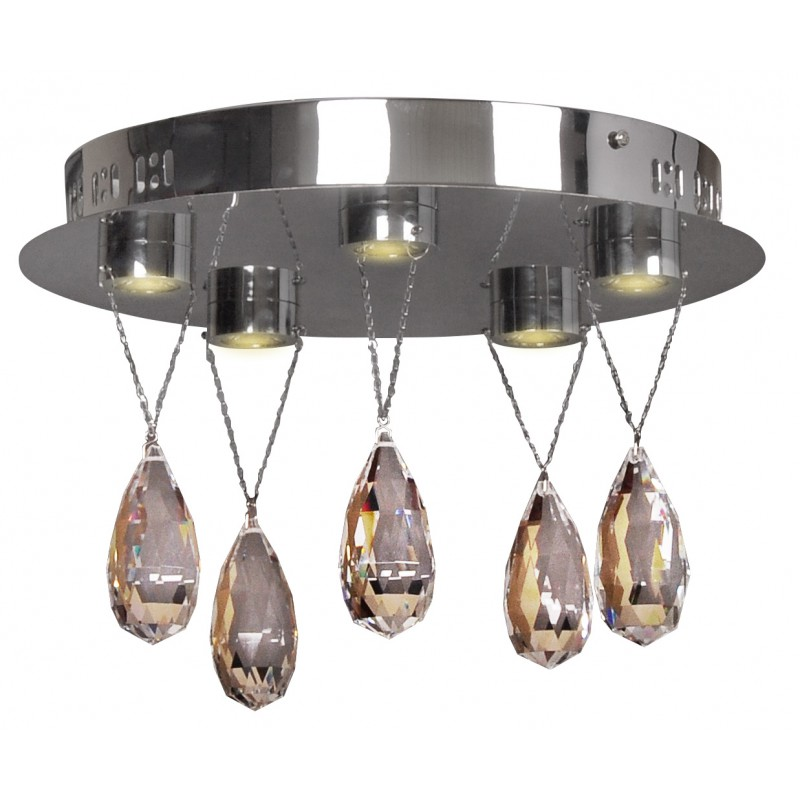 Plafony - nietuzinkowa lampa sufitowa led z szklanymi kryształami  5x3w prisma 98-25722 candellux firmy Candellux