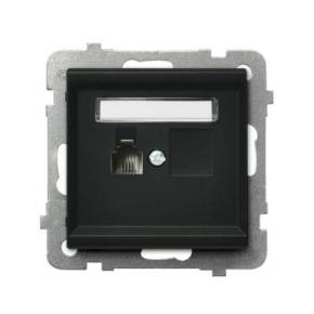Czarne gniazdo telefoniczne pojedyncze RJ12 GPT-1R/M/33 SONATA Ospel