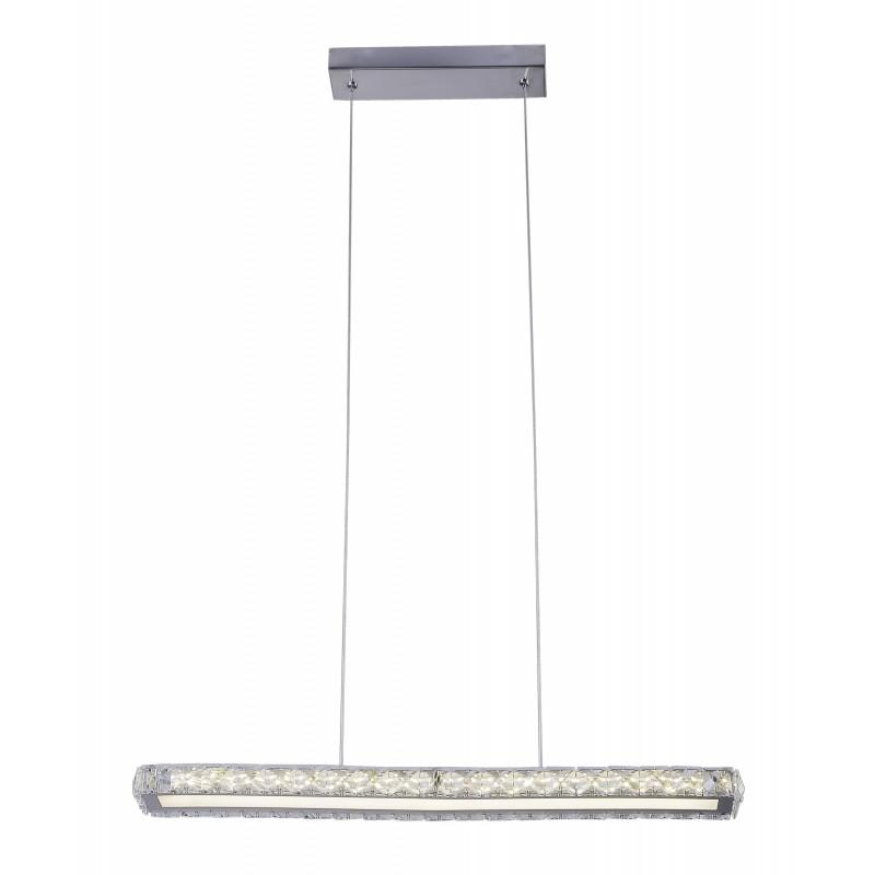 Lampy-sufitowe - lampa wisząca prostokątna led srebrna z kryształkami 60cm 20w 4000k symphony 31-55743 candellux firmy Candellux