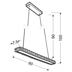 Lampy-sufitowe - lampa wisząca prostokątna led srebrna z kryształkami 60cm 20w 4000k symphony 31-55743 candellux