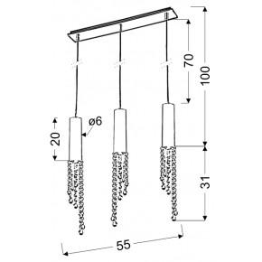 Lampy-sufitowe - lampa wisząca chromowa z wiszącymi kryształkami 3x3w led gu10 duero 33-25272 candellux