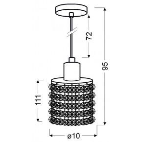 Lampy-sufitowe - chromowa lampa wisząca z czarno-białymi kryształkami 1x40w g9 royal 31-36233 candellux