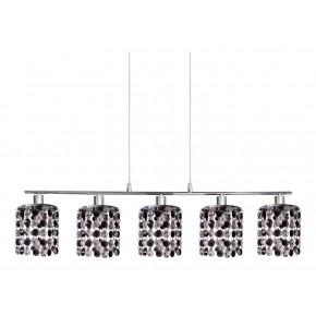 ROYAL LAMPA WISZĄCA 5X40W G9 CHROM+KRYSZTAŁKI CZARNE