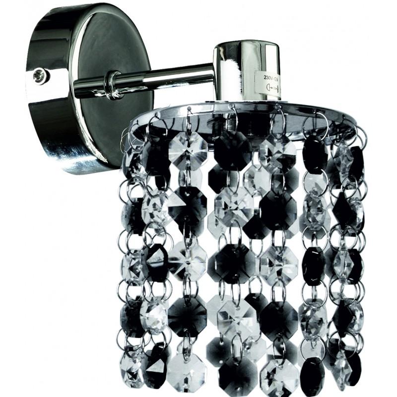 Kinkiety - lampa ścienna chromowa z czarno-transparentnymi kryształkami 1x40w g9 royal 21-36240 candellux firmy Candellux