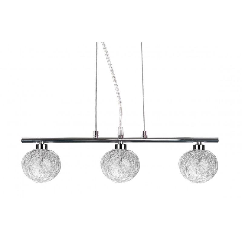 Lampy-sufitowe - lampa wisząca z trzema szklanymi kloszami w oplocie 3x40w g9 sphere 33-14023 candellux firmy Candellux