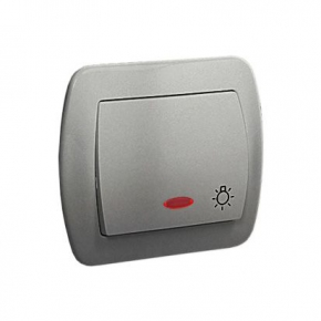 Przycisk światło zwierny z podświetleniem aluminiowy AS1L/26 Simon Akord Kontakt-Simon
