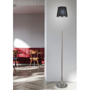 Lampy-stojace - stylowa satynowa lampa podłogowa z czarnym abażurem 51-53619 milonga candellux
