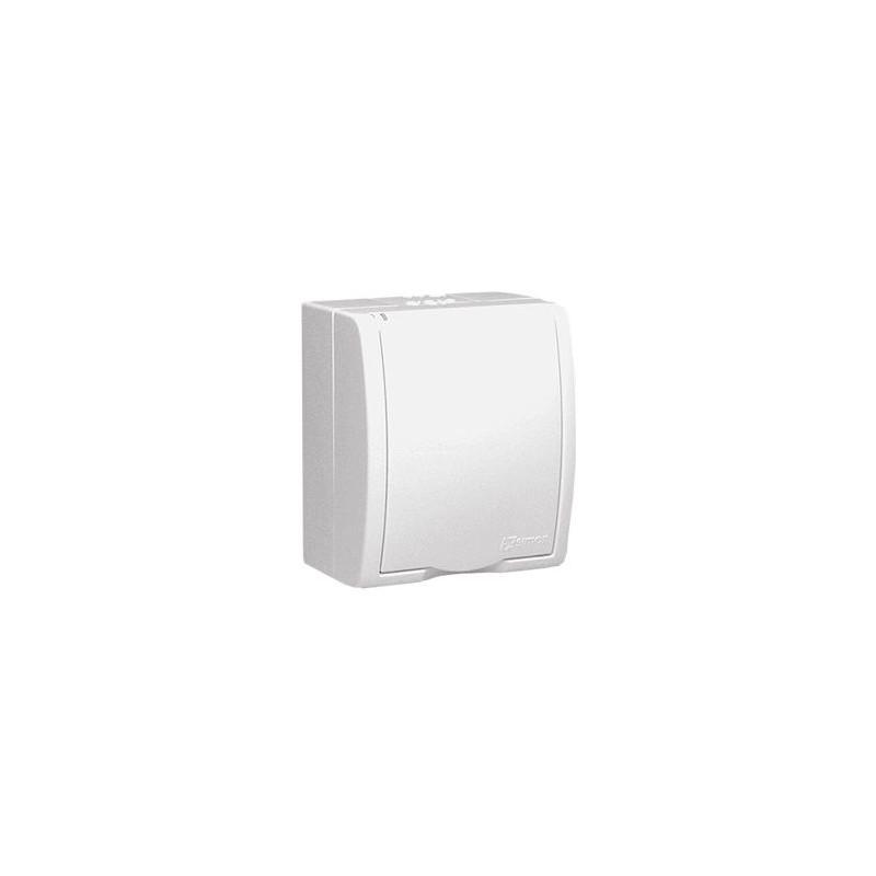 Białe gniazdo pojedyncze z uziemieniem IP54 z przesłonami z klapką AQGZ1Z/11 Simon Aquarius Kontakt-Simon