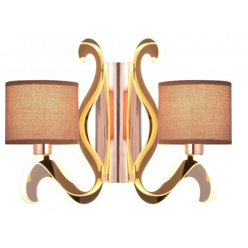 Kinkiety - dwupunktowa lampa ścienna miedziana 2x40w e14 + 12,3w led ambrosia 22-33529 candellux firmy Candellux