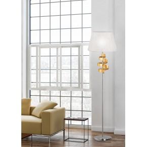 Lampy-stojace - chromowa lampa podłogowa ze złotym elementem 1x60w e27 denis 51-23506 candellux
