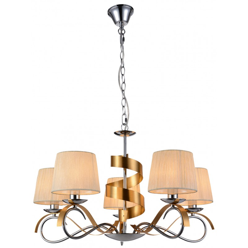 Lampy-sufitowe - lampa wisząca pięciopunktowa chromowo-złota 5x40w e14 denis 35-23445 candellux firmy Candellux