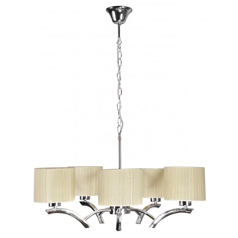 Lampy-sufitowe - oświetlenie wiszące kremowo-chromowe 5x60w e27 draga 35-04222 candellux firmy Candellux