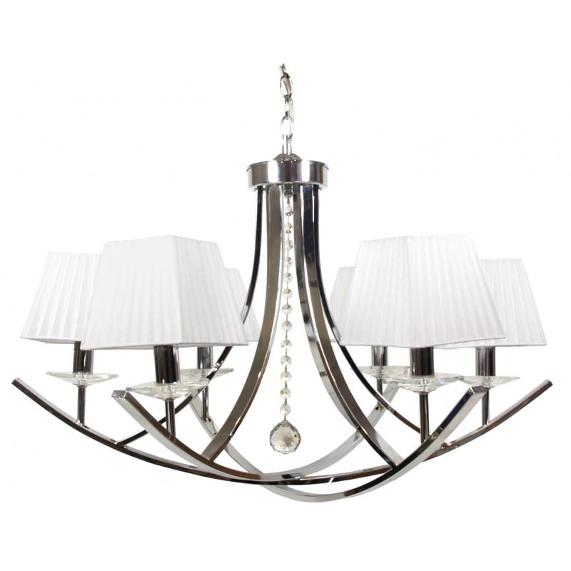 Lampy-sufitowe - elegancka lampa wisząca biało - chromowa 6x40w e14 80x110 valencia 36-84579 candellux firmy Candellux