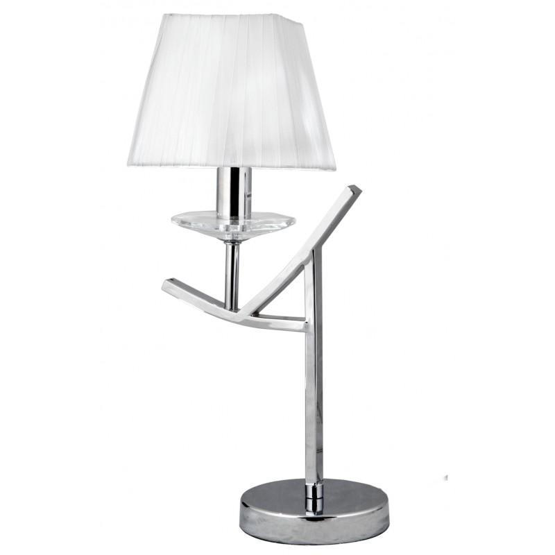 Lampki-nocne - lampa stołowa chromowa o białym abażurze 1x40w e14 h-45 valencia 41-84609 candellux firmy Candellux