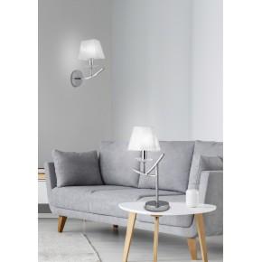 Lampki-nocne - lampa stołowa chromowa o białym abażurze 1x40w e14 h-45 valencia 41-84609 candellux