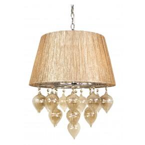 Lampy-sufitowe - lampa wisząca na łańcuchu szaro-beżowa 3x40w e14 elissa 33-04567 candellux