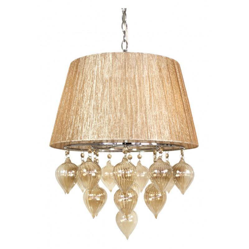 Lampy-sufitowe - lampa wisząca na łańcuchu szaro-beżowa 3x40w e14 elissa 33-04567 candellux firmy Candellux
