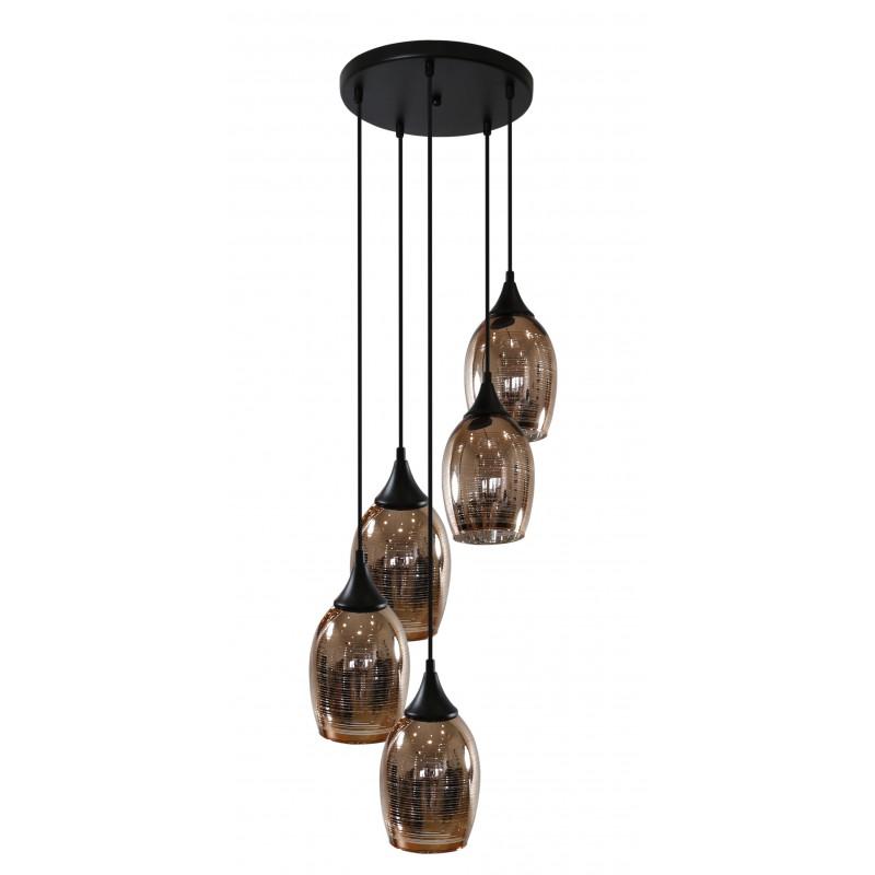 Oswietlenie - lampa wisząca 5 zwisających elementów miedziana marina 35-51639 candellux firmy Candellux