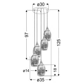 Oswietlenie - lampa wisząca 5 zwisających elementów miedziana marina 35-51639 candellux