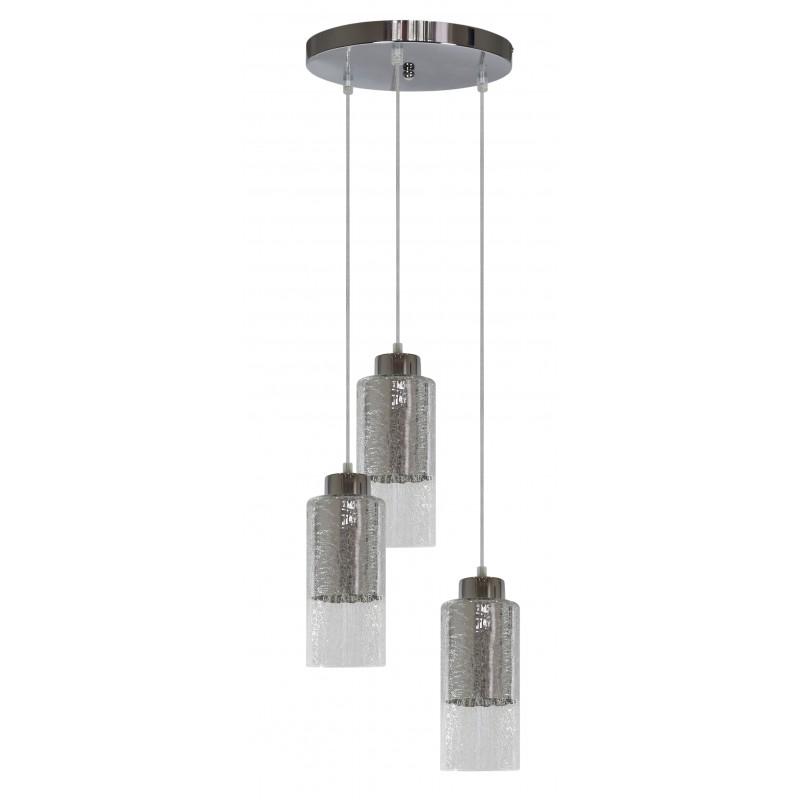 Lampy-sufitowe - okrągła lampa wisząca srebrna 3x60w e27 libano 33-51691candellux firmy Candellux