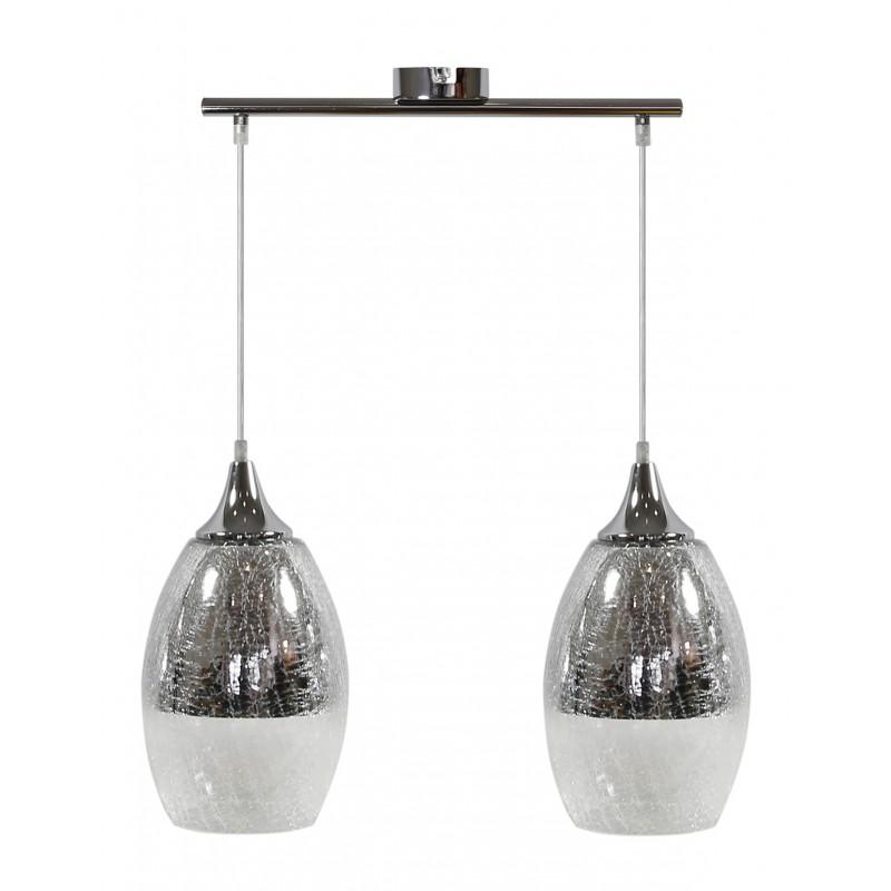 Lampy-sufitowe - lampa wisząca srebrna o efekcie bitego szkła 2x60w e27 celia 32-51578 candellux firmy Candellux