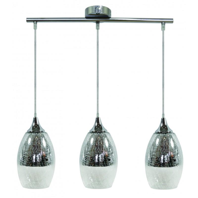 Lampy-sufitowe - srebrna lampa wisząca o efekcie pęknięć 3x60w e27 celie 33-51585 candellux firmy Candellux