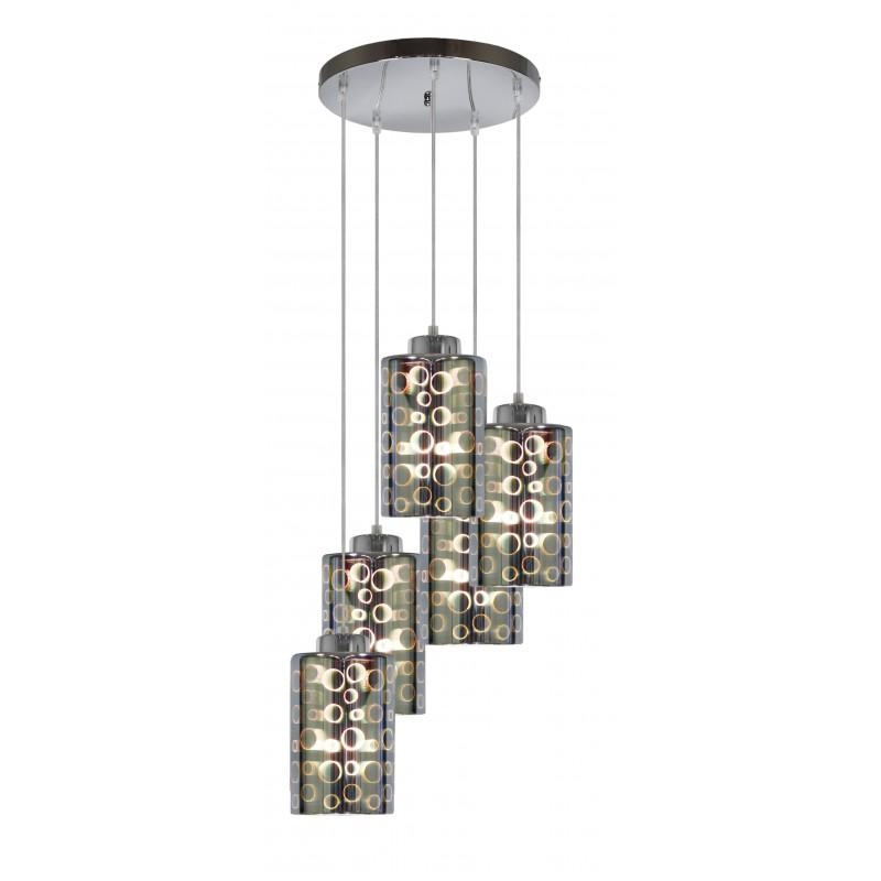 Lampy-sufitowe - pięciopunktowa lampa wisząca chromowa - talerz 5x40w e27 nocturno 35-57730 candellux firmy Candellux